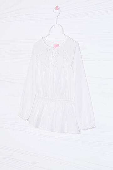 Openwork shirt in cotton blend, Milky White, hi-res