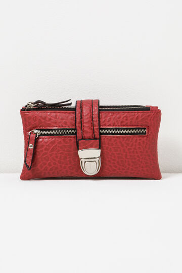 Textured wallet with strap, Red, hi-res