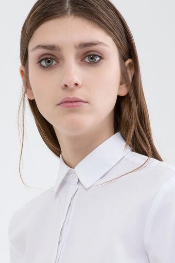 Camicia stretch tinta unita, Bianco, hi-res