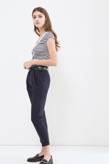 Pantaloni misto lino vita alta