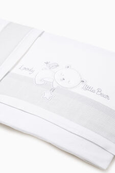 Cotton sheet with embroidery and stripes, White/Grey, hi-res