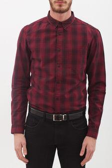 Camicia puro cotone a quadretti, Nero/Rosso, hi-res