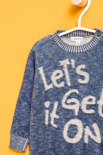 Cotton pullover with lettering embroidery, Blue, hi-res