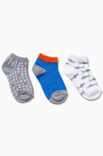 Three-pair pack solid colour and patterned socks, Multicolour, hi-res