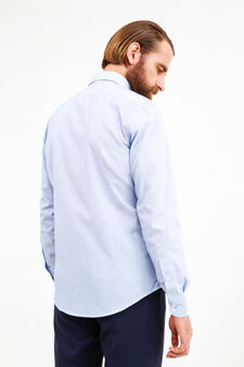 Slim fit cotton blend formal shirt, Soft Blue, hi-res