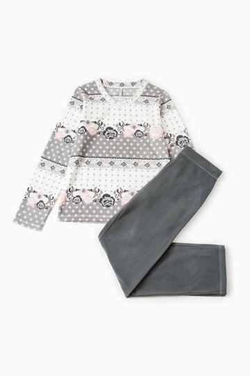 Fleece pyjamas with bow, Dark Grey, hi-res