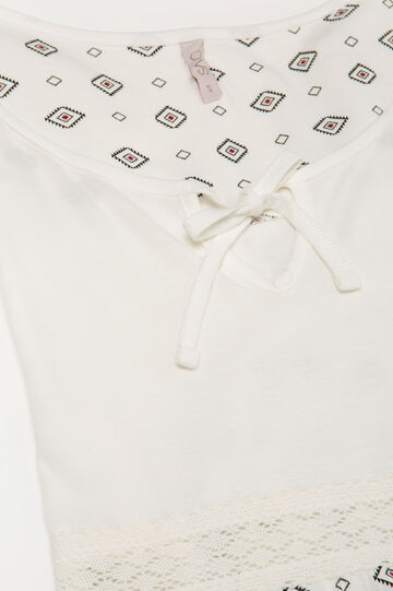100% cotton nightshirt with insert, Cream White, hi-res
