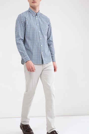 Camicia cotone quadri con tasca, Blu, hi-res
