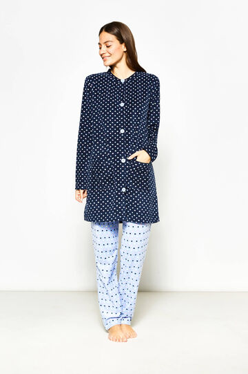 Patterned fleece dressing gown