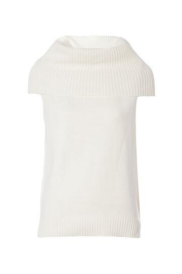 Smart Basic waistcoat with high neck, Cream White, hi-res
