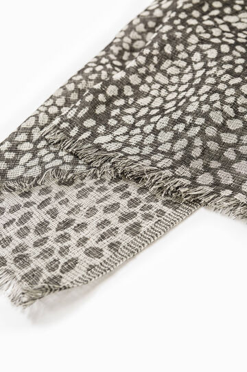 Scarf in 100% cotton with animal pattern, Black, hi-res