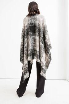 Poncho lavorato tricot tartan, Nero, hi-res