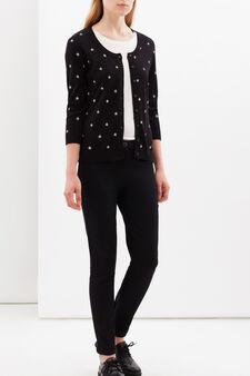 Printed cardigan with three-quarter sleeves., Black, hi-res