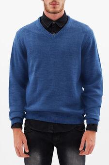 Pullover con scollo a V, Blu indigo, hi-res