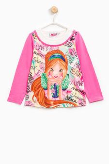 T-shirt with Winx print and diamantés, Fuchsia, hi-res