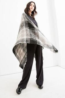 Tartan poncho with knitted design, Black, hi-res
