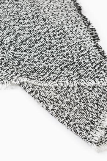 Mélange scarf with fringed ends, White/Black, hi-res