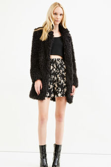 Pleated skirt with floral print, Black, hi-res