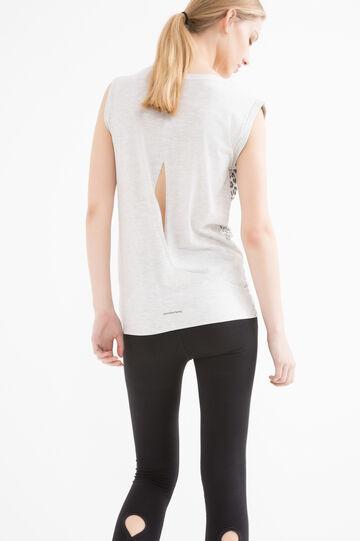 T-shirt sportiva smanicata stampa, Grigio, hi-res