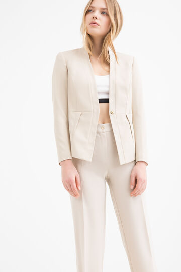 Plain stretch jacket, Beige Brown, hi-res