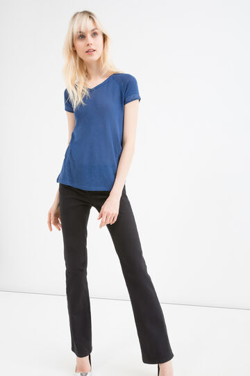T-shirt misto lino e viscosa inserti, Blu avio, hi-res