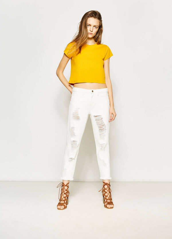 100% cotton trousers with rips | OVS