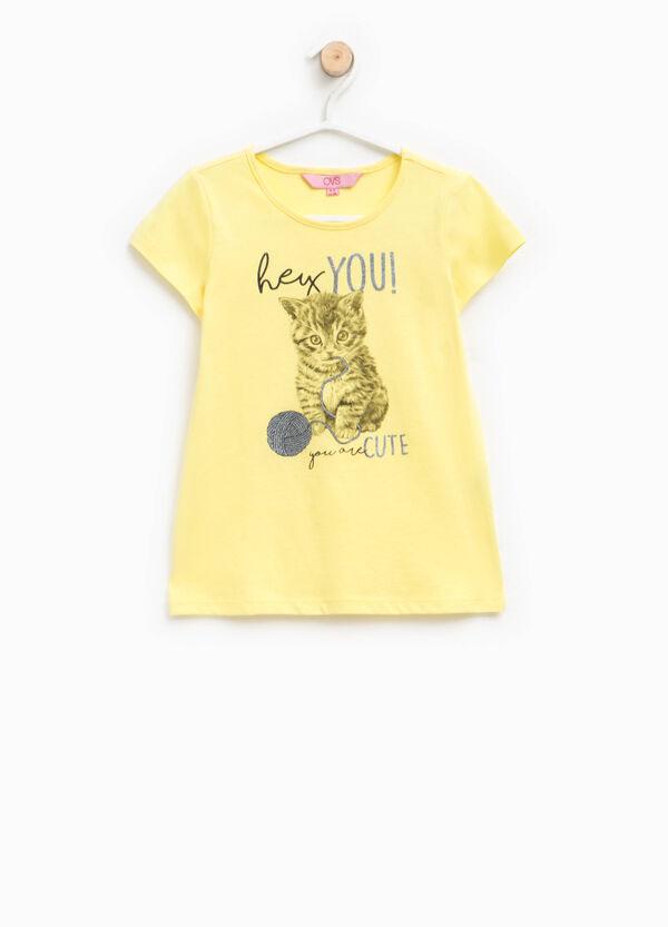 T-shirt girocollo con stampa glitterata | OVS