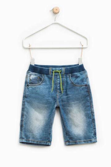 Denim Bermuda shorts with elasticated ribbed waistband, Dark Blue, hi-res