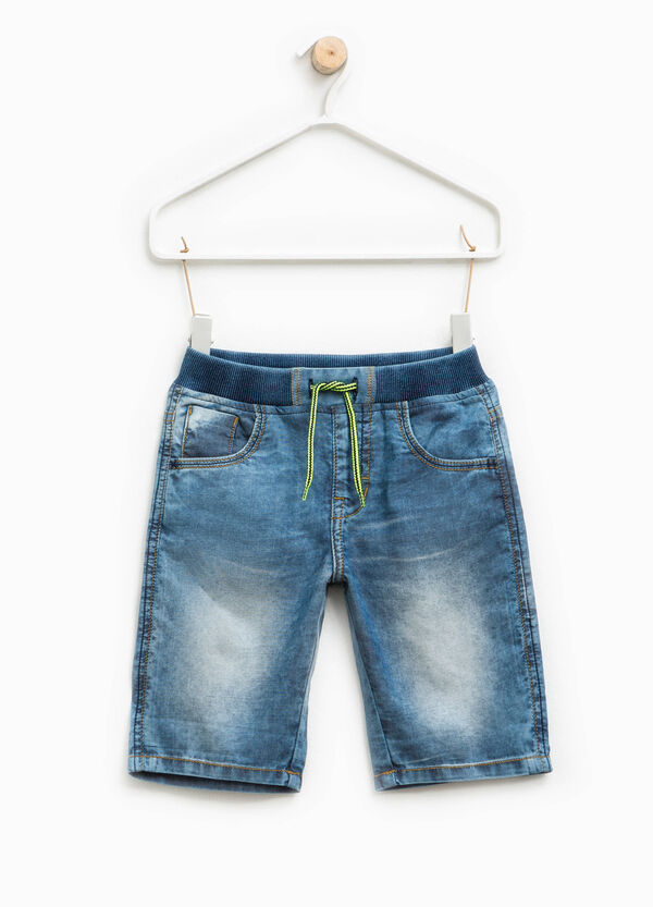 Denim Bermuda shorts with elasticated ribbed waistband | OVS