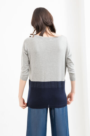 Viscose and cotton pullover with glitter, Grey/Blue, hi-res