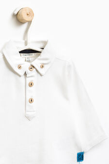 Stretch cotton polo shirt with button-down collar, Milky White, hi-res