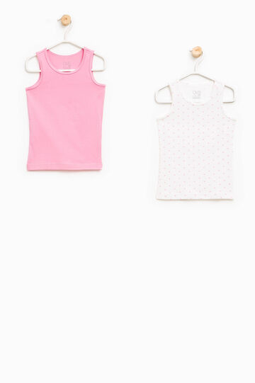 Set of two solid colour and hearts under vests, Pastel Pink, hi-res
