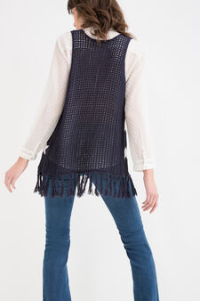 Knitted waistcoat with star pattern, Denim, hi-res