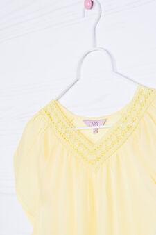 Solid colour 100% viscose shirt, Yellow, hi-res