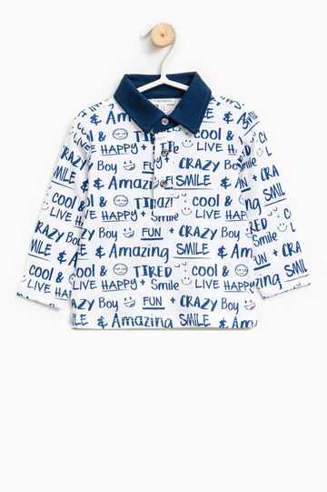Polo shirt in 100% cotton with lettering pattern, White/Blue, hi-res