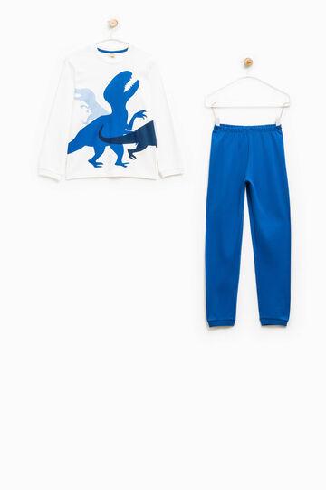 Pigiama maxi stampa dinosauri, Bianco/Blu, hi-res