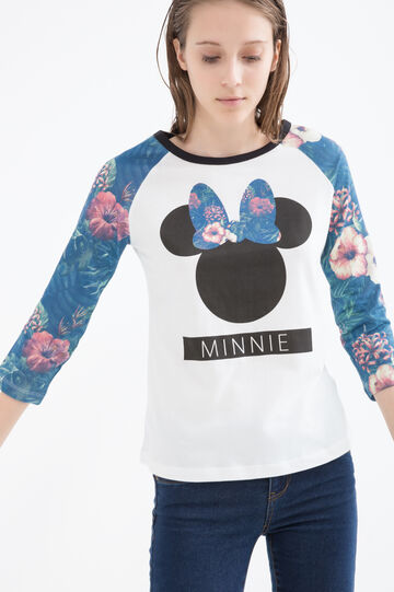Cotton T-shirt with Minnie Mouse print, Milky White, hi-res