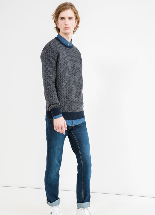 Patterned 100% wool knitted pullover | OVS