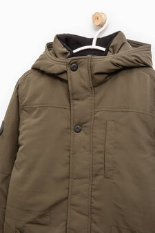 Solid colour jacket with hood, Green, hi-res