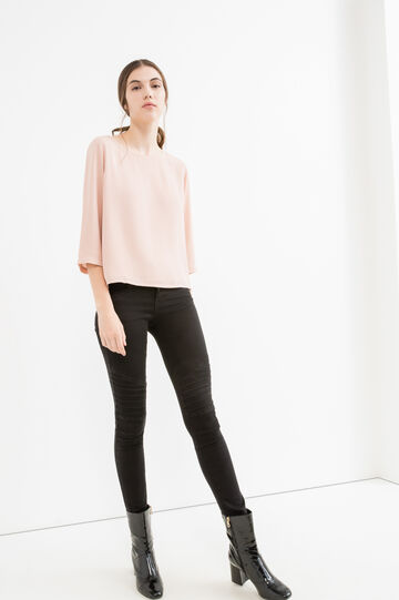 Solid colour blouse with three-quarter sleeves, Powder Pink, hi-res