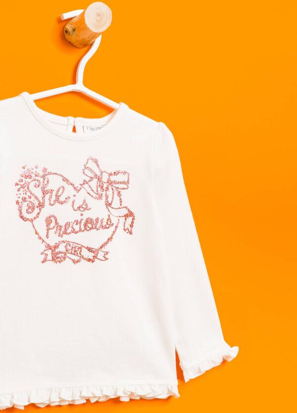 T-shirt stretch volant e glitter | OVS