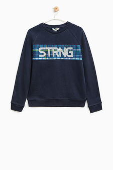 Printed sweatshirt in 100% cotton, Blue, hi-res