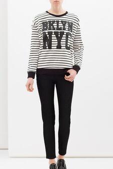 Striped cotton blend sweatshirt, White/Black, hi-res
