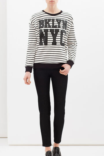Striped cotton blend sweatshirt, White/Black, hi-res