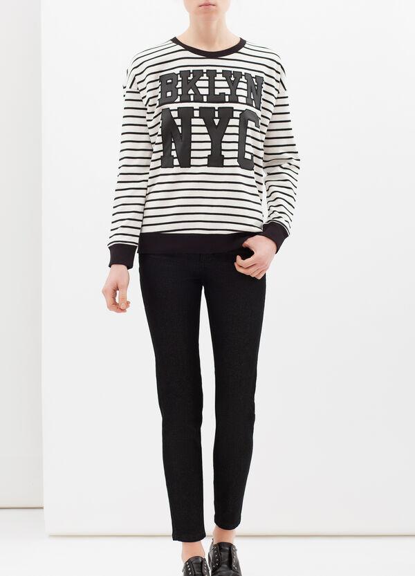 Striped cotton blend sweatshirt | OVS