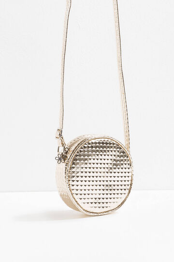 Round shoulder bag with diamond weave