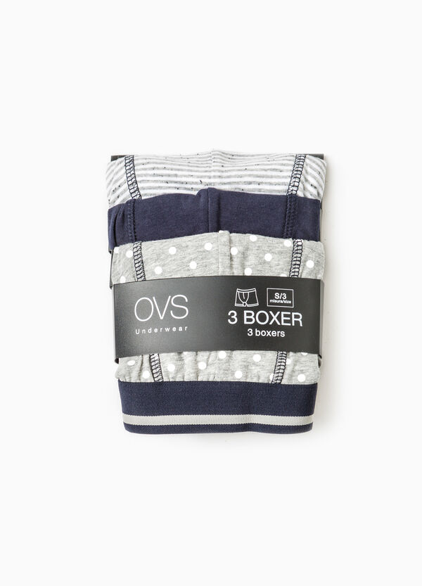 Three-pack solid colour and patterned boxer shorts | OVS