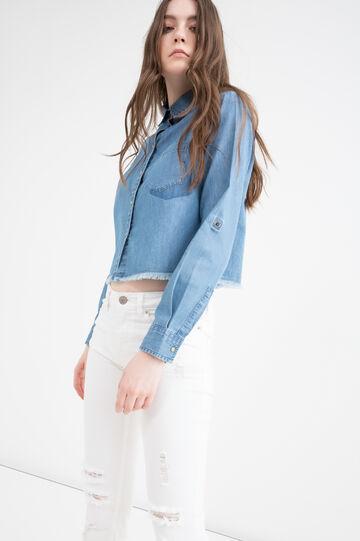 Camicetta corta di jeans frange, Denim, hi-res