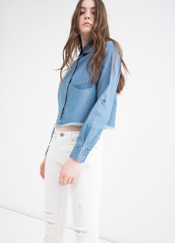Short denim blouse with fringe | OVS