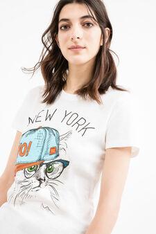 T-shirt stampata puro cotone, Bianco latte, hi-res
